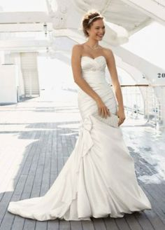 Satin Fit and Flare Gown with Bow Detail