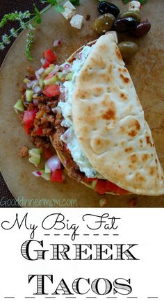 My Big Fat Greek Tacos The recipe can be made with ground beef , lamb or turkey. And, as if the tacos aren't delicious enough, look what you can do with leftovers. A healthier alternative to corned-beef hash. Greek Recipes, Mexican Food Recipes, Dinner Recipes, Ethnic Recipes, Mexican Dishes, Sandwiches, Tostadas, Burritos, Enchiladas