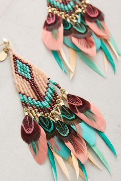 Slide View: 2: Quetzal Beaded Earrings