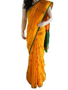 Brand New Yellow Pure Silk Saree With Woven Motifs and Pallu