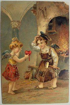 Antique vintage valentine's day postcard cupid cherubs fairies with broken heart no 1022 Victorian Valentines, Vintage Valentine Cards, Vintage Cards, Vintage Postcards, Vintage Images, Vintage Pictures, My Funny Valentine, Valentines Greetings, Valentine Crafts