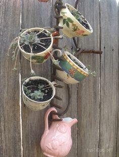 Garden Rake And Mug Planter