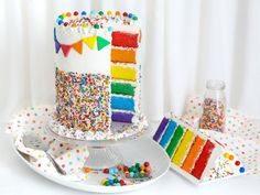 How to Make a Fun-Filled Rainbow Sprinkle Layer Cake — Food Network Rainbow Sprinkle Cakes, Rainbow Sprinkles, Rainbow Jello, Rainbow Cakes, Round Cake Pans, Round Cakes, Violet Cakes, Cake Leveler, Layer Cake Recipes