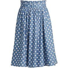 eShakti Women's Belted polka dot chambray skirt ($42) ❤ liked on Polyvore featuring skirts, polka dot skirt, blue skirt, belted skirt, chambray skirt et dot skirt