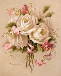 """White roses and pink sweet peas.                             """" What's in a name ? That which we call a rose, By any other name would smell as sweet """"  --William Shakespeare"""