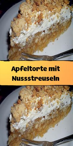 Apple tart with nut crumble- Apfeltorte mit Nussstreuseln Ingredients for the dough: 2 egg whites 2 tablespoons water 60 g sugar … - Smarties Recipes, Easy Desserts, Delicious Desserts, Oven Baked French Toast, Quiche, Bbq Bacon, Food Inspiration, Quesadillas, Gnocchi