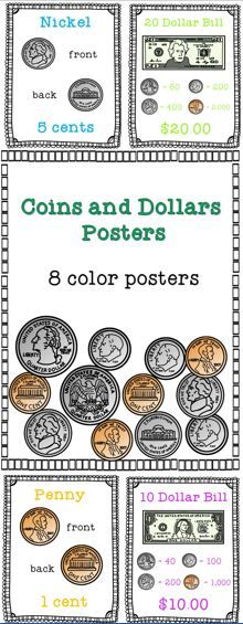 Set of coin and dollar posters for FREE! coins | money | money posters | coin posters | first grade money |second grade money | kindergarten money | preschool money |