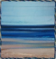 Thinking beach is a fiber art quilted wall hanging, it was created by embellishing a digitally altered image, printed onto fabric, of one of my quilts.  It measures 10 x 10, and comes ready to hang. A dowel is included.