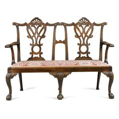 A George II Mahogany Double Chairback Settee circa 1755 with drop-in seat
