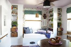 Built-in daybed w/IKEA bookshelves. We wanted a built-in library/reading nook area in our daughters playroom. Using 2 different sizes of IKEA bookcases we built a dreamy space Bookshelves In Bedroom, Ikea Billy Bookcase, Built In Bookcase, Bookcases, Small Rooms, Kids Rooms, Kitchen Countertop Storage, Built In Daybed, Painting Laminate Furniture