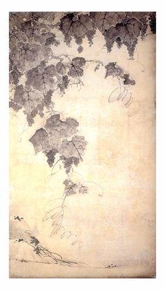 Jakuchu Ito   Hand drawing art of black ink.