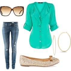 "Such a great color pop and easy outfit!! ""love that color"" by carolineharding99 on Polyvore"