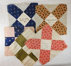 5 Great 1915 Dated Friendship Quilt Squares Weston Manchester Vermont   eBay, meantiques1