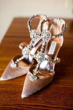 Add some extra bling to your wedding day outfit with these  sparkly heels.