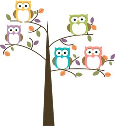 Owl Cartoon | Colorful Owls in Pretty Tree Clip Art - Colorful Owls in Pretty Tree ... @Jana Bentch Stoltzfus @Jessica Donley Lehman @Kristin Antonucci Gregory