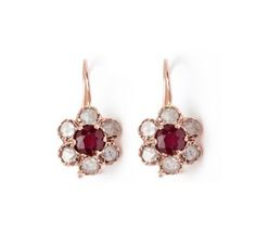Arik Kastan Flower Drop Earrings, ruby, diamond, rose gold