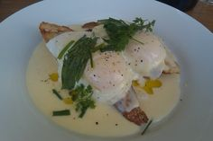 Slow poached eggs in parmesan cream