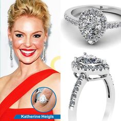 Celebrity Look Alike Engagement Ring ||  Twin Drop Ring || Pear Shaped Diamond Halo Ring With White Diamond In 950 Platinum