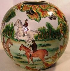 "Beautiful 7"" Ball Vase ""English Fox Hunting Scene All Around""Perfect Horses Dogs"