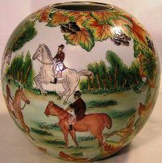 "Beautiful 7"" Ball Vase ""English Fox Hunting Scene All Around""Perfect Horses Dogs"