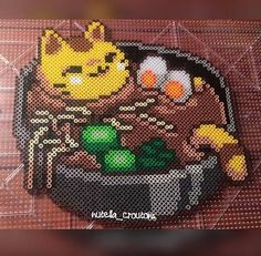 TonCATsu Ramen Perler Perler is an original by me! The perler itself is about 13 inches by 10 inches. When ordering the TonCATsu perl with the poster board, please send me what color/pattern you would like to have as the background. Pixel Art, Habbo Pixel, Perler Bead Templates, Diy Perler Beads, Perler Bead Art, Hama Beads Design, Hama Beads Patterns, Beading Patterns, Mosaic Patterns