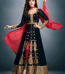 Black Anarkali Style Salwar Kameez has Glossy embroidered neckline & front with contrast colored border of Level Touch Top giving a Party wear look. Available Sizes: Fabric: T-Georgette, B-Santoon, D-Chiffon Colour: T-Black, B-Red, D-Red Designer Salwar Kameez, Designer Anarkali, Indian Salwar Kameez, Indian Anarkali, Anarkali Dress, Anarkali Suits, Pakistani Dresses, Indian Dresses, Indian Outfits