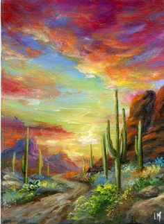 ACEO Original Arizona Desert Mountains Sunset Acrylic Miniature Painting by Im | eBay