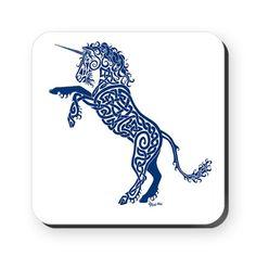 celtic knotwork blue unicorn