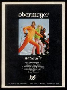 1969 Sport Obermeyer women's ski skiing fashion pants sweater vintage print ad