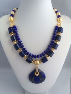 Beautiful Royal Blue Lapis Lazuli Long Statement Necklace with Hand Painted Ceramic Beads