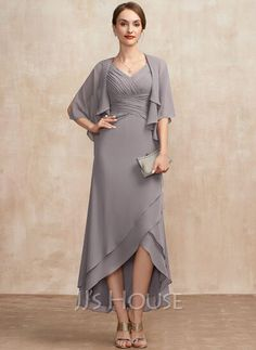 [US$ 121.00] A-Line V-neck Asymmetrical Chiffon Cocktail Dress With Ruffle Mother Of Groom Dresses, Bride Groom Dress, Mothers Dresses, Mother Of The Bride, Mob Dresses, Bridesmaid Dresses, Wedding Dresses, Bride Dresses, Brides Mom Dress
