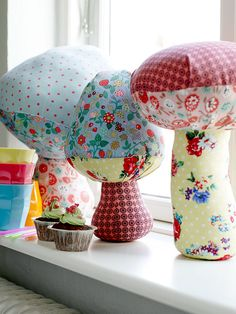 plush mushrooms = love the patchwork Mushroom Crafts, Mushroom Art, Sewing Projects, Projects To Try, Arts And Crafts, Diy And Crafts, Vintage Sheets, Hand Puppets, Creative Play