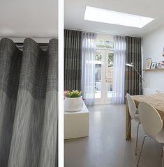 Wavegordijnen - diepte wave zelf te bepalen, praktisch bij hoge ramen Stacker Doors, Curtain Designs, Home Bedroom, New Homes, Loft, Waves, House Design, Living Room, Inspiration