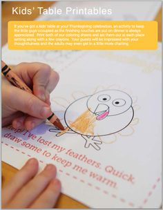 Fun printables and crafts for the holidays - love this turkey for keeping the kids busy at the Thanksgiving table.
