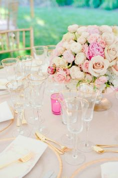 Gold Rimmed Crystal, Peonies & Roses. So Romantic! via The Decorista