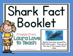 I have created a short 8 page shark booklet with different facts about sharks and photographs to add to each page.  Each page fits 4 to a sheet to save on ink and paper :) After the fact pages, there is also a page where students can write what they learned from the book (a little interactive after their reading!)Let me know what you think, thank you!! :)