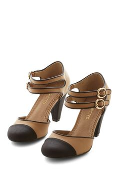 Shadyside Lady Heel. You feel great as you stroll down Walnut street in your new two-toned Restricted heels. #tan #modcloth