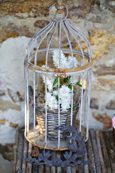 cage with flowers