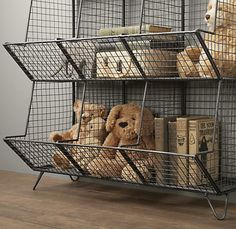 I love this storage container from Restoration Hardware! So practical and still cute! Wire Storage, Cubby Storage, Nursery Storage, Storage Ideas, Nursery Décor, Industrial Nursery, Industrial Chic, Restoration Hardware Baby, Floor Restoration