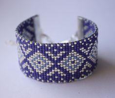 Tissage perles delicas miyuki / ARGENT bleu : Bracelet par tadaam-bracelet