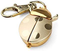 Gold Quartz Analogue Keychain Key Ring Watch Pendant Golden Ladybug Lady Bug Pocket Watch Xmas Gif, Cute Watches, Ring Watch, Quartz Necklace, Lady Bug, Key Rings, Pocket Watch, Jewelry Watches, Personalized Items
