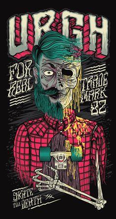Skate Till Death Urgh Illustration artwork is done by Thiago Pacheco who is from São Paulo, Brazil. Graffiti Art, Graffiti Wallpaper, Skull Wallpaper, Art Patin, Digital Art Illustration, Schrift Tattoos, Digital Foto, Skate Art, Till Death