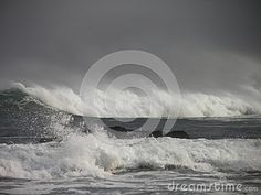 A view of a ocean storm and storm waves.