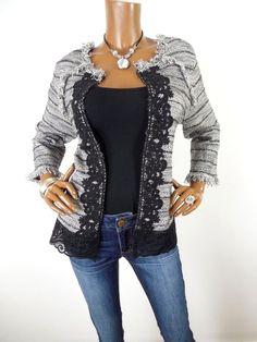 768fb5d561f26e CHICO S Sz 3 Womens L XL Top Cardigan Sweater Blouse Casual Shirt Black  White