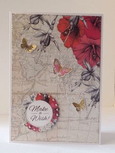 Card designed by Julie Hickey using Paradise collection. Card Tags, Gift Cards, Make A Wish, How To Make, Craftwork Cards, Creative Cards, Cardmaking, Birthday Cards, Pro Markers