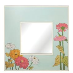30 Colorful Pale Blue Square Wall Mirror with Zinnia Floral Design ** Check out this great product.