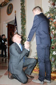 U.S. Marine Corps captain Matthew Phelps and his partner, Ben Schlock, made history in 2012 by becoming the first gay couple to become engaged at the White House. Phelps told HuffPost that he wanted to propose at the White House because they had their first date there, at the LGBT Pride Month Reception, six months earlier. Best Marriage Proposals Of All Time