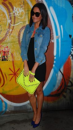so pretty neon stud envelope clutch black dress and denim jacket