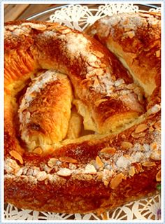 Old-fashioned Danish Almond Kringle or Birthday Kringle - Gammeldags Fødselsdagskringle - Afmæliskringla - Kringle ,with remonce, marzipan and almonds, was always bought from the Bakery.