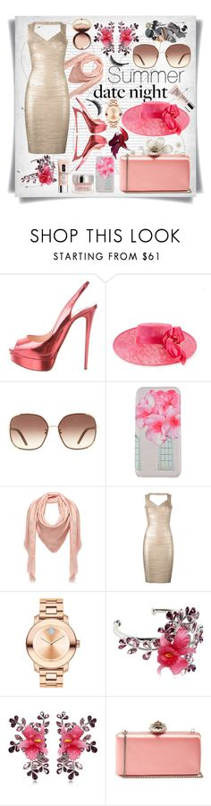 """""""Summer Date Night:Metallic Dress"""" by imbeauty ❤ liked on Polyvore featuring Oris, Christian Louboutin, Philip Treacy, Chloé, Ted Baker, MCM, Hervé Léger, Movado, Dsquared2 and By Terry"""